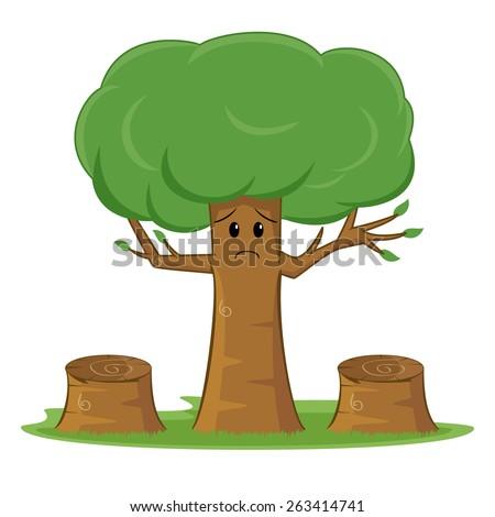 Deforestation awareness, sad tree - stock vector