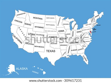 Delaware State, USA, vector map isolated on United states map. Editable blank vector map of USA.