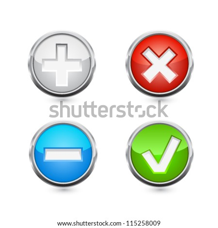 Delete and add buttons. Vector - stock vector