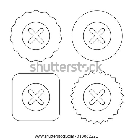 Delete icon. Decline or Remove sign. Cancel symbol. Flat circle, star and emblem buttons. Labels design. Vector - stock vector