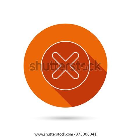 Delete icon. Decline or Remove sign. Cancel symbol. Round orange web button with shadow. - stock vector