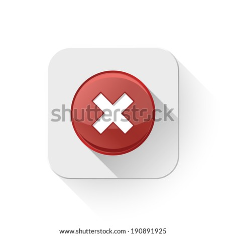 delete remove icon With long shadow over app button - stock vector