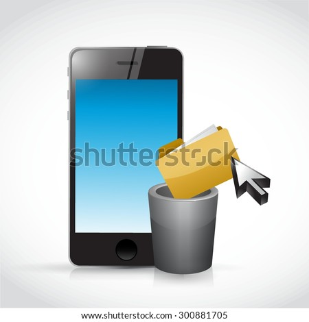 deleting content on a cell phone. illustration design graphic - stock vector