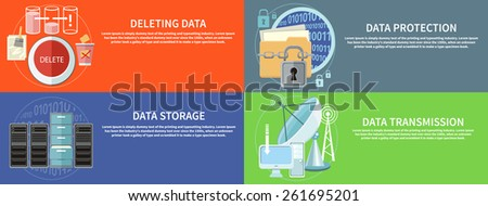 Deleting data files from folder to recycle bin. ?older and lock. Data security concept. Satellite dish transmission data. Cloud computing, render farms, data centers, servers workstations and networks - stock vector
