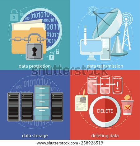 Deleting data files from folder to recycle bin. Yellow folder and lock. Data security concept. Satellite dish transmission data. Cloud computing, render farms, data centers, servers, workstations - stock vector