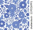 Delft blue Dutch flowers seamless pattern background - stock vector