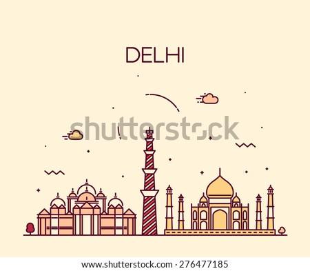 Delhi City skyline detailed silhouette. Trendy vector illustration, line art style. - stock vector