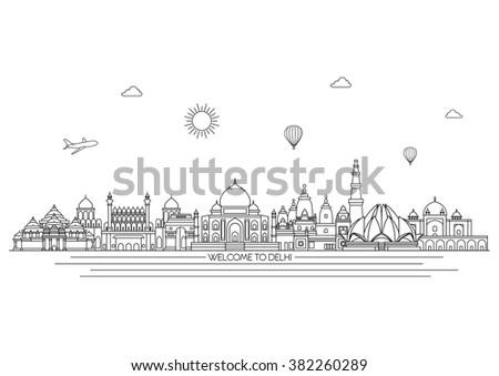 Delhi detailed skyline. Travel and tourism background. Vector background. line illustration. Line art style - stock vector