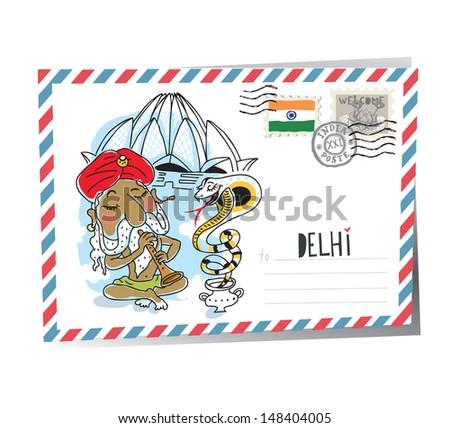 Delhi postcard. vector - stock vector