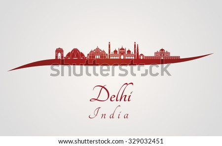 Delhi skyline in red and gray background in editable vector file
