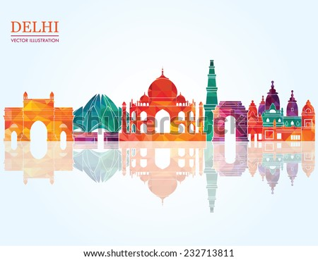 Delhi skyline. Vector illustration - stock vector