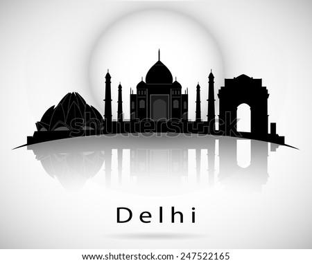 Delhi skyline. Vector illustration - stock vector