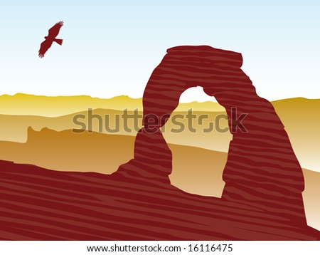Delicate arch at Arches National Park vector image - stock vector