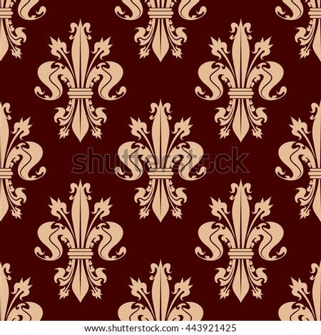 Delicate beige fleur-de-lis floral seamless pattern of french heraldic lilies with ornamental leaves and flower buds on reddish brown background. Use as medieval monarchy theme or interior design - stock vector