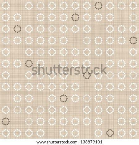 delicate brown blue white flower shaped geometric round elements in regular rows on beige background seamless pattern - stock vector