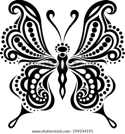 Delicate butterfly silhouette. Drawing of lines and points.Symmetrical image. - stock vector