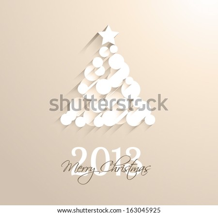 Delicate 2013 Christmas background made with circular white shapes with shadows. - stock vector