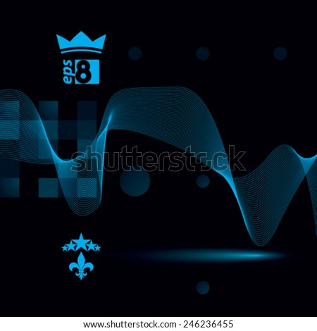 Delicate dimensional flowing stripy lines, dreamy vector abstract background with web design elements, motif light template. - stock vector