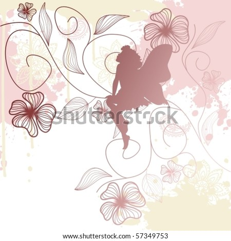 Delicate fairy shape with flowers, vector illustration - stock vector
