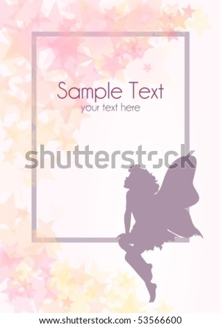Delicate fairy shape with frame and stars, raster version also available in my portfolio - stock vector