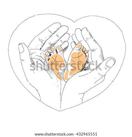 Delicate little feet of newborn baby in a caring and loving hands of mother. The picture painted by hand - stock vector