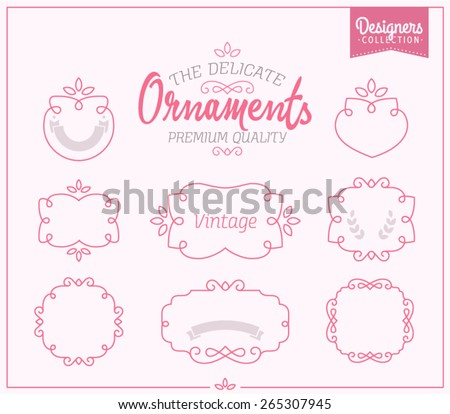 Delicate Ornaments simple and graceful monochrome monogram design elements - stock vector