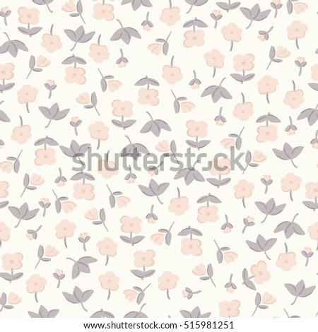Delicate pastel flowers. graphic print. Small floral pattern.