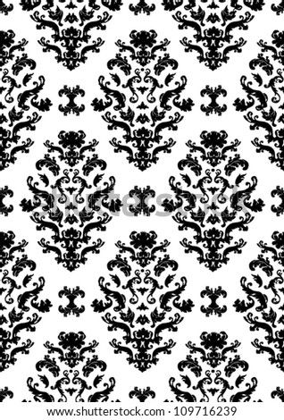 Delicate seamless damask pattern vector with black shapes on a white background.  Can be tiled horizontally and vertically. - stock vector