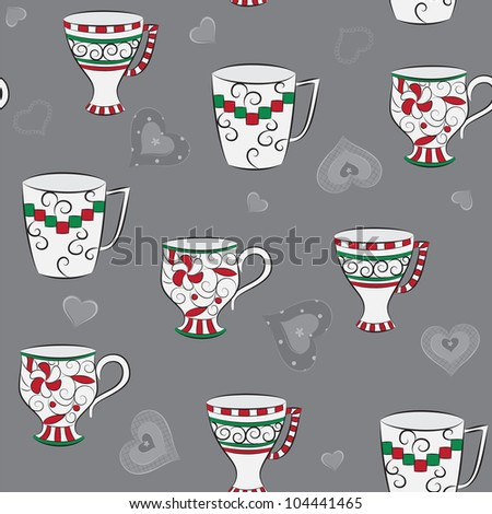 Delicate seamless pattern with hand-drawn cups and hearts - stock vector