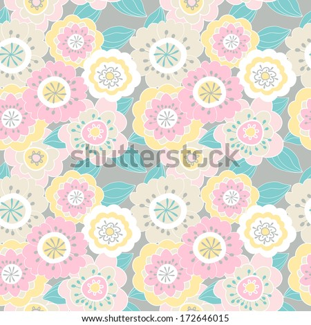 Delicate seamless pattern with pink flowers
