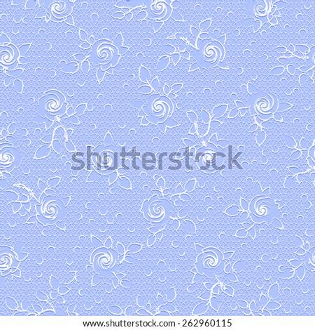Delicate vintage floral seamless pattern with white rose ornament on a violet lace background - stock vector