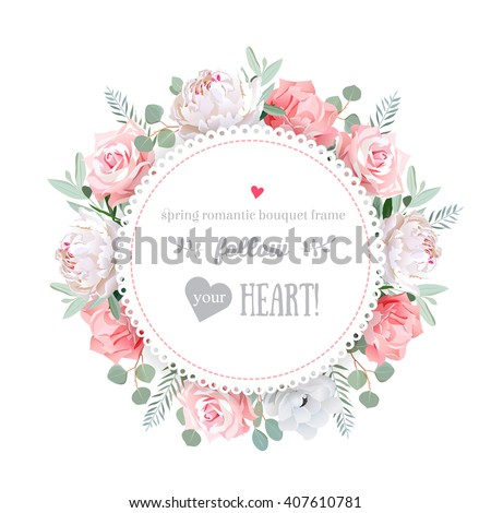 Delicate wedding floral vector design frame. Peony, rose, anemone, pink flowers. Colorful floral objects. All elements are isolated and editable.  - stock vector