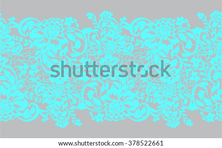 Delicate white lace with flowers turquoise on a gray - stock vector