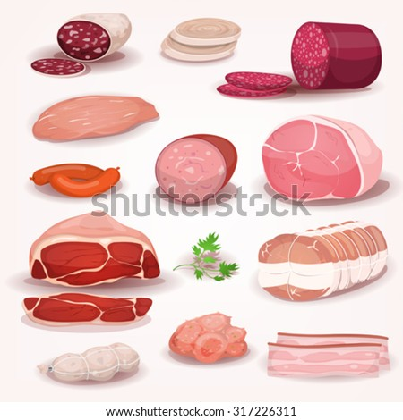 Delicatessen And Butchery Meat Set/ Illustration of a cartoon delicatessen set, with pieces of french or italian prepared pork meat, including ham, salami slices, sausage, chorizo, bacon and pepperoni - stock vector