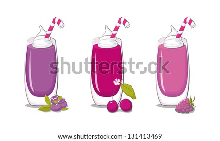 Delicious blueberry, cherry and raspberry smoothies
