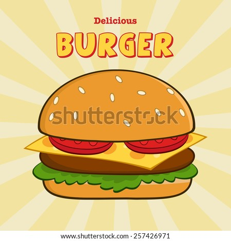 Delicious Burger Design Card With Text. Vector Illustration - stock vector