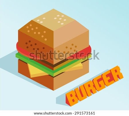 delicious burger isometric. vector illustration - stock vector
