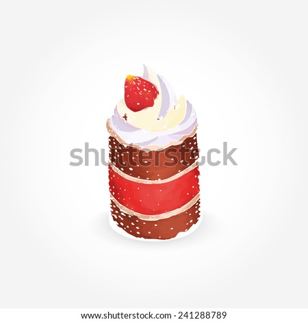 Delicious cake with creamy topping and fresh strawberry isolated on white background. EPS10 vector format - stock vector