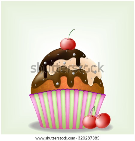Delicious cupcake with three-chocolate cream and sweets and cherries - eps10 vector illustration - stock vector