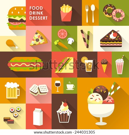 delicious desserts collection in flat design style - stock vector
