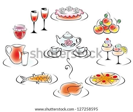 Delicious food and drink: pizza, cake, chicken, fish, apples, jams, ice cream, milk, tea, wine. - stock vector