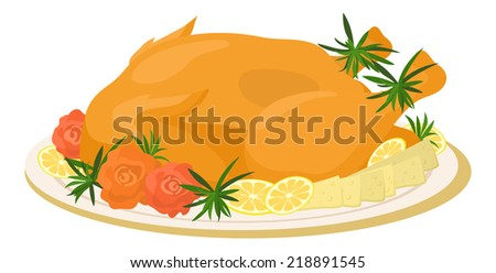 Delicious food on plate, roasted turkey with cheese, lemons, rosemary and roses of vegetables, isolated on white background. Vector - stock vector
