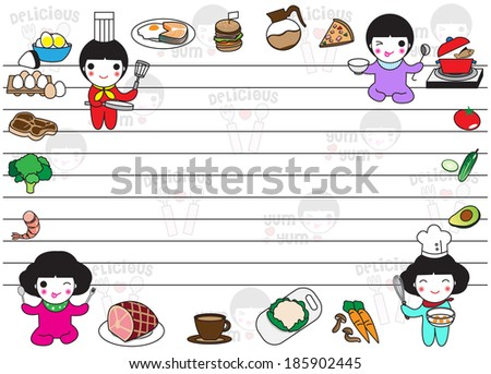 Delicious food paper note pattern illustration