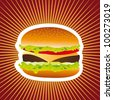 delicious hamburger over red background. vector illustration - stock vector