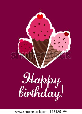 Delicious ice cream with cherry greeting card - stock vector