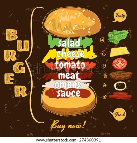 Delicious juicy burger with ingredients of organic products - stock vector