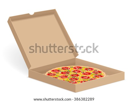 Delicious pizza in box isolated on white background. - stock vector