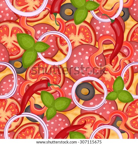 Delicious pizza seamless pattern with salami, sweet pepper, olive, cheese, tomato, chili, onion and basil. Vector Illustration. - stock vector
