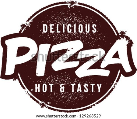 Delicious Pizza Vector Stamp - stock vector