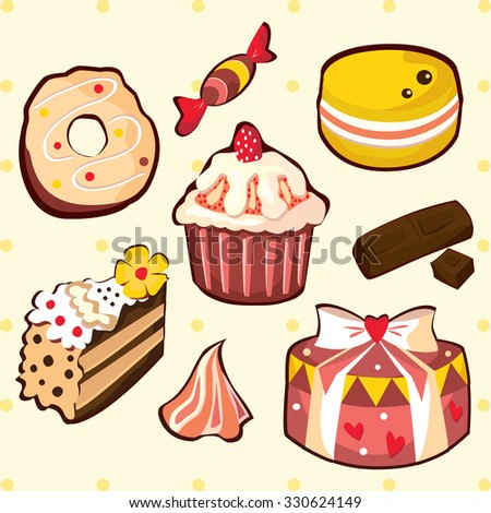 Delicious sweets and cakes set - stock vector